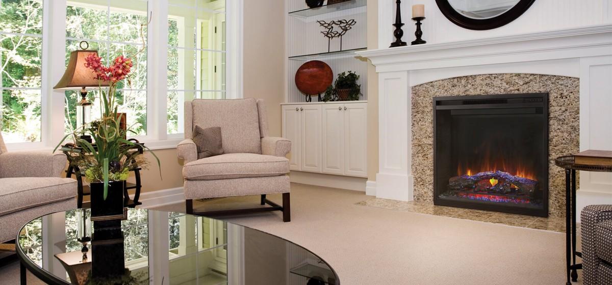 Propane fireplace in brick mantel