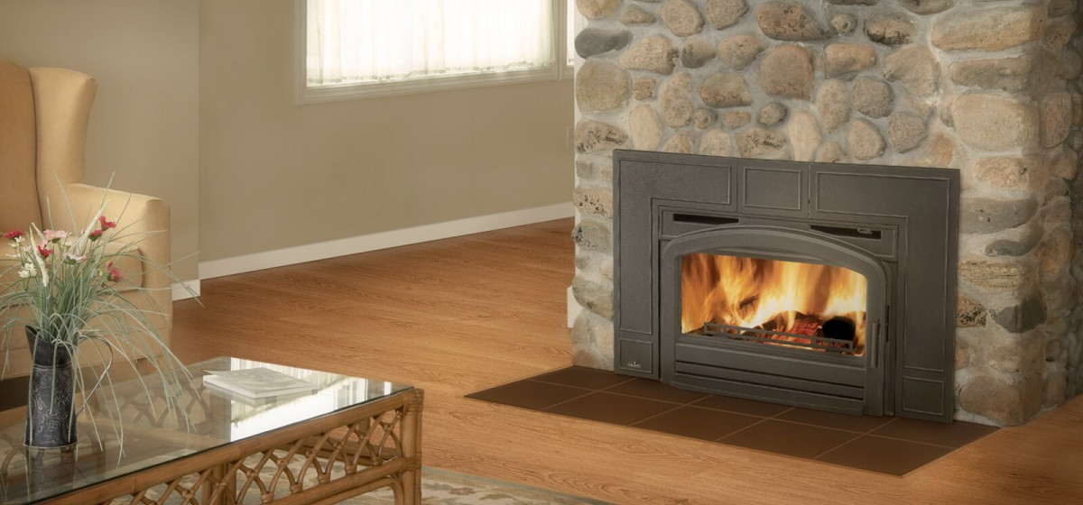Propane fireplace surrounded by brick