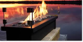 Propane fireplace in stone mantel